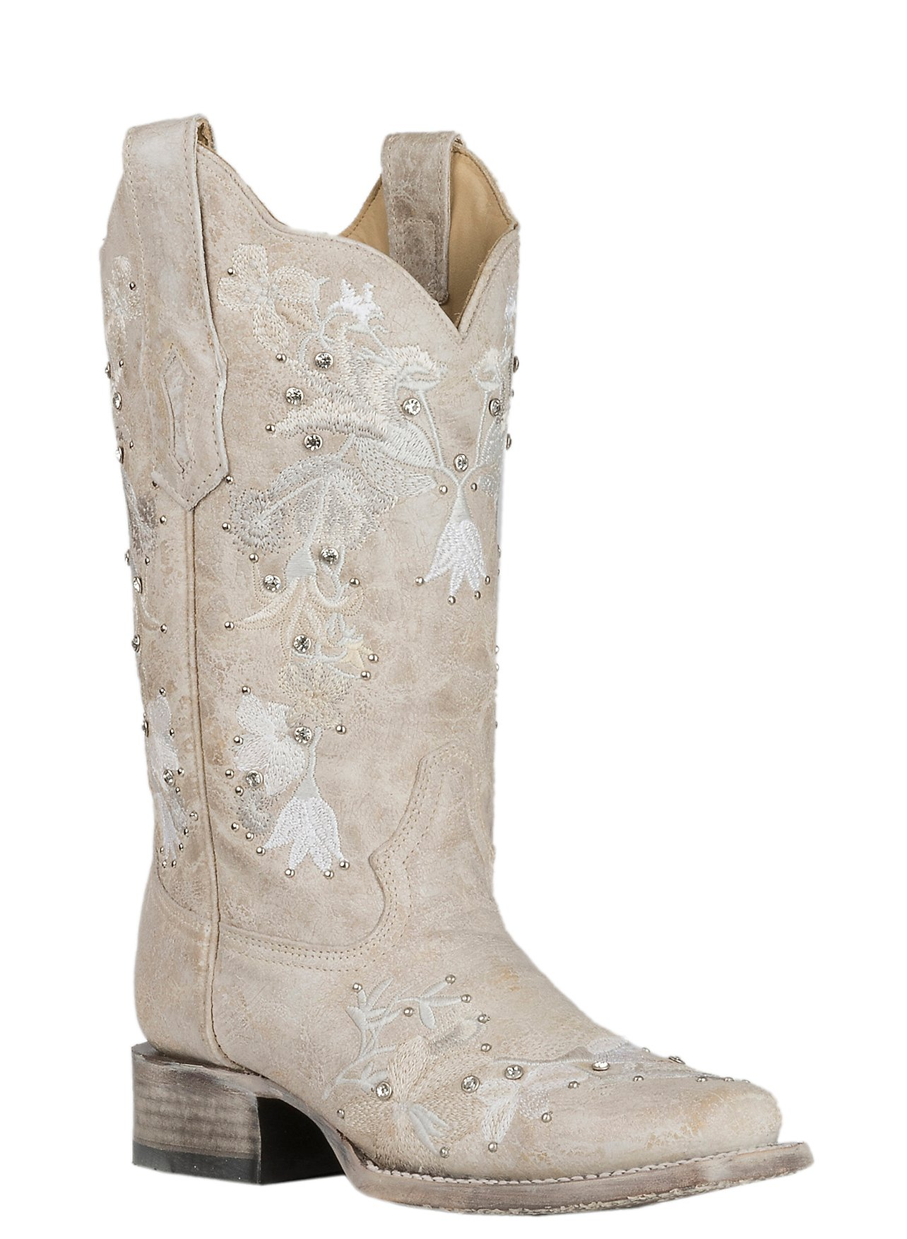 Corral Boot Company Womens White W Floral Embroidery And Crystals Wedding Western Square Toe Boots