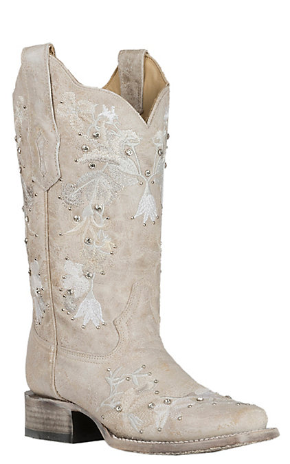 2cc097d3d21 Corral Women's White with Floral Embroidery and Crystals Wedding Western  Square Toe Boots