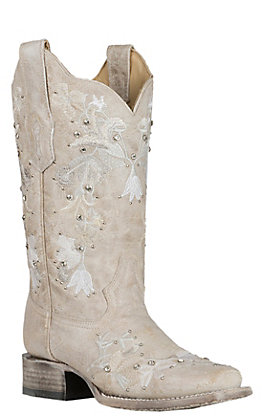 Corral Women's White with Floral Embroidery and Crystals Wedding Western Square Toe Boots