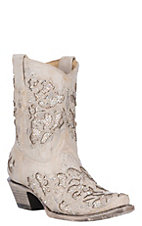 Corral Women's White w/ White Glitter & Crystals Inlay Wedding Snip Toe Ankle Boots