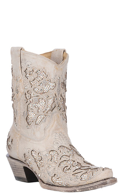 c712b42d8c8 Corral Women's White with Crystals Inlay Wedding Snip Toe Booties