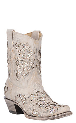 Corral Women's White Leather & Crystals Inlay Wedding Snip Toe Booties