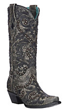 Corral Women's Black & Charcoal Overlay with Studs Western Snip Toe Boots