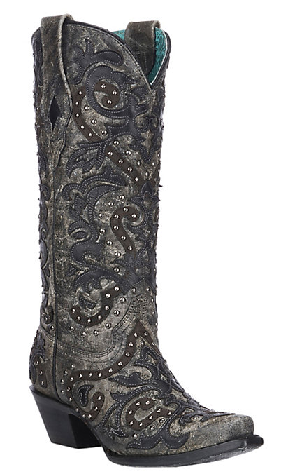 672f6286817 Corral Women's Black & Charcoal Overlay with Studs Western Snip Toe Boots