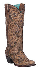 Corral Women's Cognac & Brown Overlay with Studs Western Snip Toe Boots