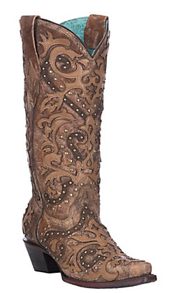 afd39fa1c156 Corral Women's Cognac & Brown Overlay with Studs Western Snip Toe Boots