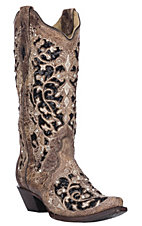 Corral Women's Brown & Black Inlay with Embroidery & Studs Western Snip Toe Boots