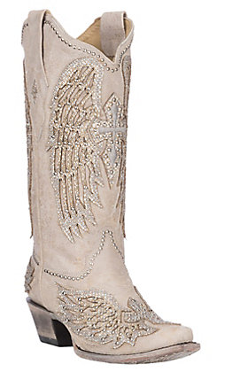 Corral Women's Bone with White Cross Wings and Crystals Wedding Snip Toe Boots