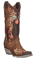 Corral Women's Chocolate/ Rust Suede w/ Floral Embroidery Western Snip Toe Boots