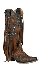 Corral Women's Leopard Print with Stud Overlay and Fringe Western Snip Toe Boots