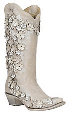 Corral Women's Moonlight Ivory Floral Overlay with Embroidery, Studs and Crystals Cavender's Exclusive Western Snip Toe Boots