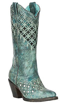 Corral Women's Turquoise with Glitter and Embroidered Cavender's Exclusive J Toe Boots