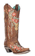 Corral Boot Company Women's Tan Cowhide Deer Skull Embroidered Snip Toe Boots