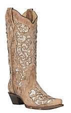 Corral Boot Company Women's Beige Floral Embroidered Glitter Inlay Snip Toe Boots
