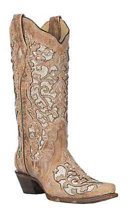 Corral Women's Beige Floral Embroidered Glitter Inlay Snip Toe Western Boot