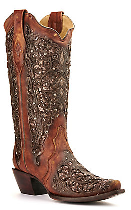 Corral Women's Cognac Brown with Bronze Glitter Inlay and Crystals Snip Toe Western Boots