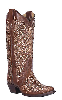 Corral Boot Company Women's Floral Embroidered Inlay Glitter Snip Toe Western Boots