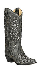 Corral Women's Charcoal and Smoked Glitter Inlay Snip Toe Western Boots