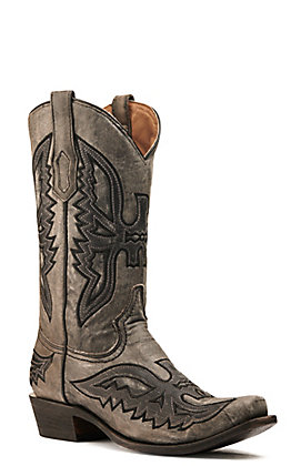 Corral Men's Distressed Grey and Black with Eagle Overlay Punchy Square Toe Western Boots