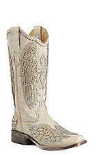 Corral Women's Bone w/ White Cross Wings & Crystals Wedding Square Toe Boots