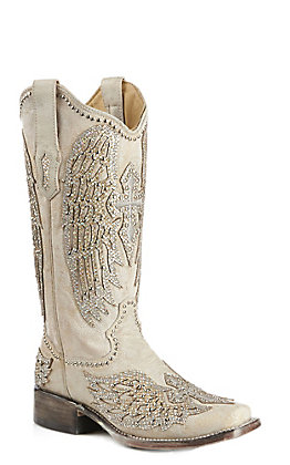 Corral Women's Bone with White Cross Wings and Crystals Wedding Square Toe Western Boot