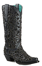 Corral Boot Company Women's Black Floral Embroidered Inlay Glitter Snip Toe Western Boots