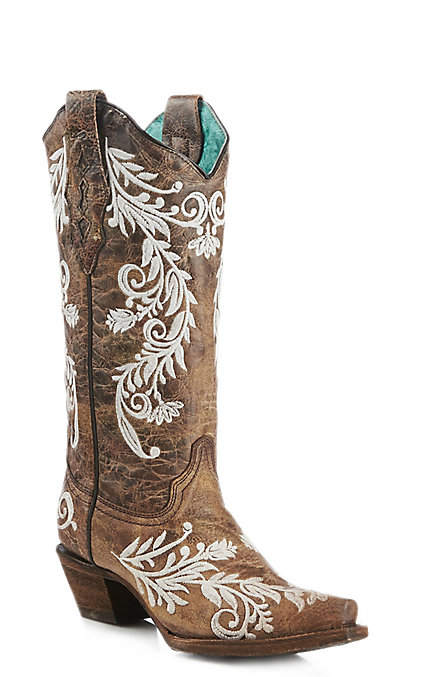 b12efcf7380 Corral Women's Brown and White Glow in the Dark Embroidery Snip Toe Western  Boots