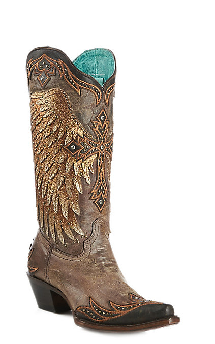 c1f0a92238d Corral Women's Tobacco Wings and Cross Overlay Wingtip Western Boot