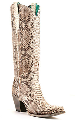 Corral Women's Natural Full Python Snip Toe Tall Exotic Western Boots