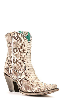 Corral Women's Natural Full Python Snip Toe Exotic Western Booties