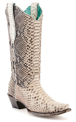 Corral Women's Natural Full Python Snip Toe Exotic Western Boots