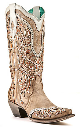 Corral Women's Tan with White Overlay Embellished Snip Toe Western Boots