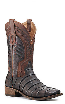 Corral Men's Oil Brown Caiman and Woven Caiman Wide Square Toe Exotic Boots