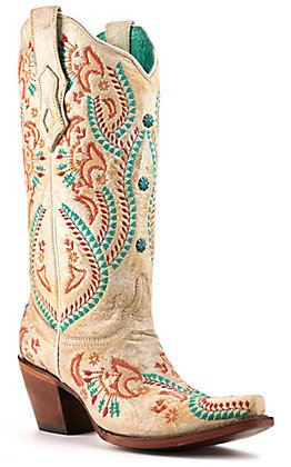 Corral Women's Ivory with Turquoise and Red Embroidery Snip Toe Western Boots