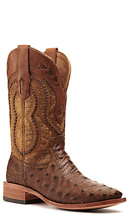 Corral Men's Orix Tan Full Quill Ostrich Foot Wide Square Toe Exotic Western Boots