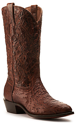 Corral Men's Cognac Leather and Ostrich with Embroidery J-Toe Western Boots