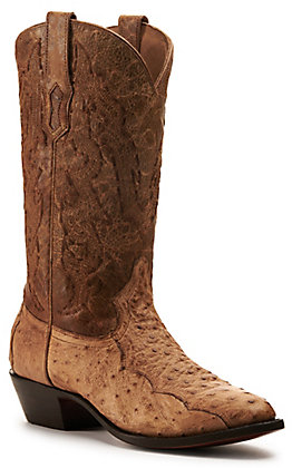 Corral Men's Tan Leather and Ostrich with Embroidery J-Toe Western Boots