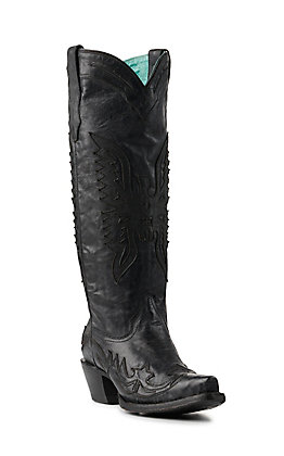 Corral Women's Black Eagle Overlay Snip Toe Tall Western Boots