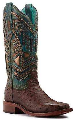 Corral Women's Brown Ostrich and Distressed Turquoise Overlay Wide Square Toe Exotic Western Boots
