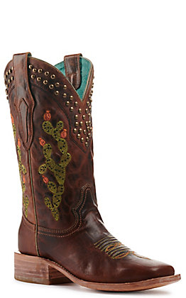 Corral Women's Brown with Cactus Embroidery Wide Square Toe Western Boots