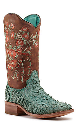 Corral Women's Brown and Turquoise Fish with Floral Embroidery Square Toe Exotic Western Boots