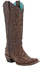 Corral Ladies Brown Lizard w/ Leather Lace Overlay Snip Toe Exotic Western Boots