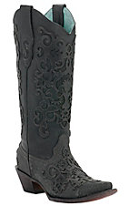 Corral Ladies Black Lizard w/ Leather Lace Overlay Snip Toe Exotic Western Boots