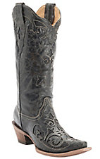 Corral Ladies Vintage Black w/ Black Lizard Inlay & Bone Stitching Snip Toe Western Boots