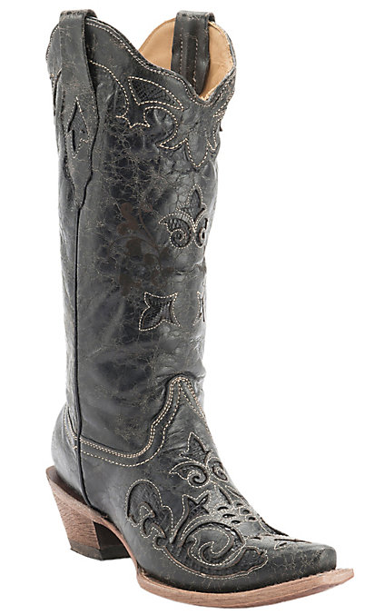 1cbeb9b0a48 Corral Women's Vintage Black with Black Lizard Inlay and Bone Stitching  Snip Toe Western Boots