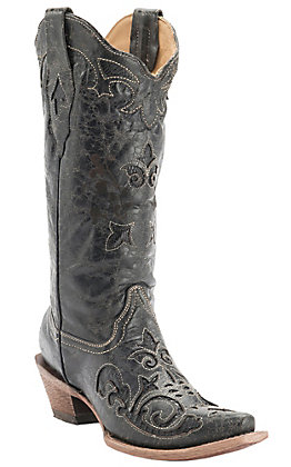 Corral Women's Vintage Black with Black Lizard Inlay and Bone Stitching Exotic Western Snip Toe Boots