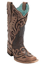 Corral Ladies Chocolate w/ Distressed Brown Wave Overlay & Sequin Inlay Square Toe Double Welt Western Boots