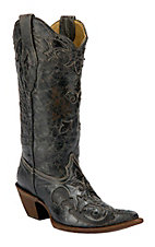 Corral Ladies Distressed Black w/ Black Lizard Inlay Western Boots