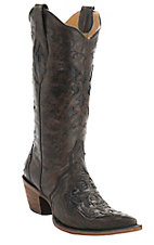 Corral Women's Brown Fango Triad Black Lizard Inlay Pointed Toe Western Boots