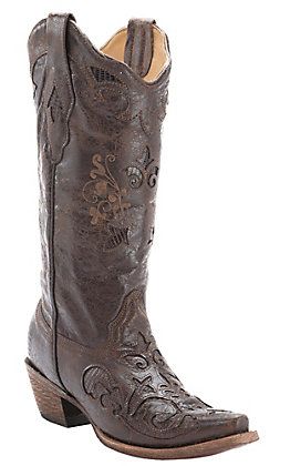 Corral Women's Vintage Chocolate with Chocolate Lizard Inlay Exotic Western Snip Toe Boots
